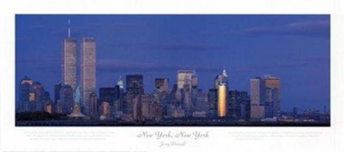 New York WTC and Statue of Liberty Horizontal by Jerry Driendl