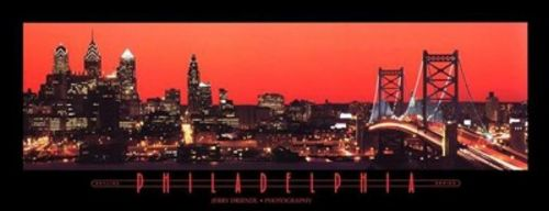 Philadelphia, Pennsylvania, Red Sky by Jerry Driendl