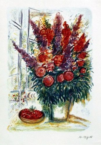 Bouquet with Bowl of Cherries by Marc Chagall