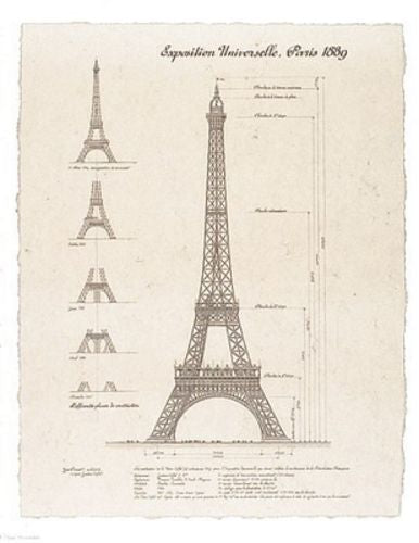 Exposition, Paris 1889 (Eiffel Tower) 13 1/2x10 1/2 by Yves Poinsot