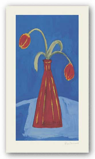 Red Vase and Tulips by Pippa Sherwood