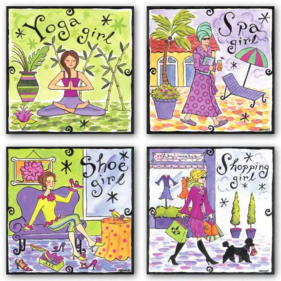 Shopping-Shoe-Spa-Yoga Girls Set by Jennifer Brinley