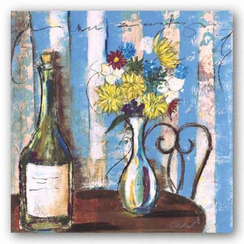 Wine and Flowers I by Celeste Peters