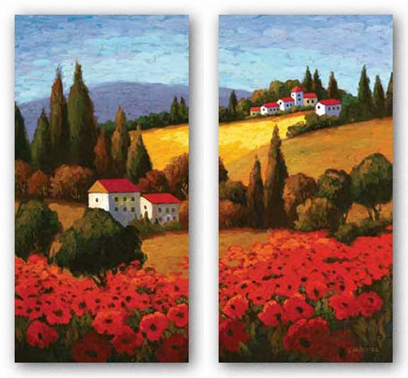 Tuscan Poppies Panel Set by Parrocel