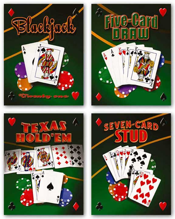 Seven Card Stud-Blackjack-Five Card Draw-Texas Hold 'Em Set by Mike Patrick