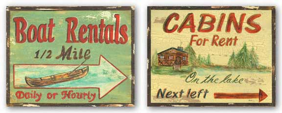 Cabin Rentals and Boat Rentals Set by Grace Pullen