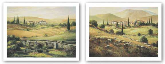 Quiet Fields Of Montalcino and Arno Bridge Set by Joe Sambataro