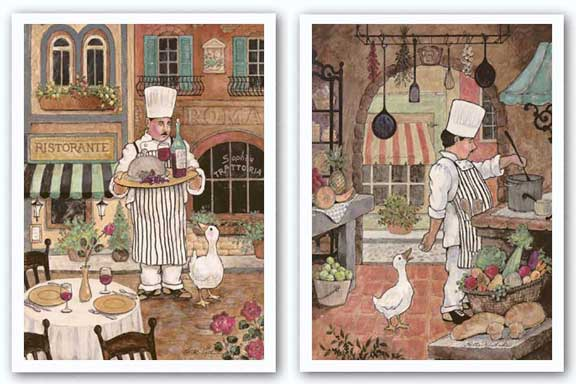 Chef with Goose and Chef with Wine Set by Betty Whiteaker