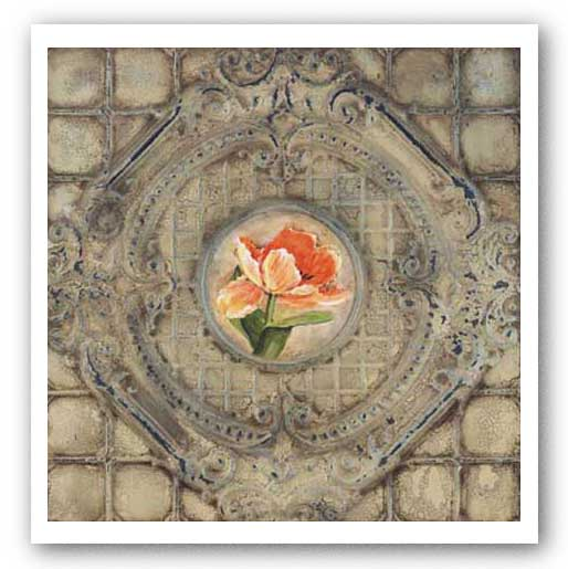 Victorian Tile - Orange Tulips by Peggy Abrams