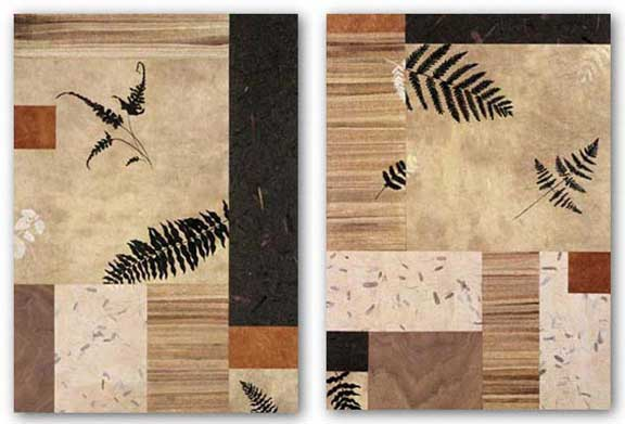 Collage With Leaves And Ferns Set by Julieann Johnson