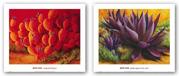 Purple Agaves On The Rocks and Orange Prickly Pear Set by Beth Zink