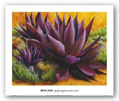 Purple Agaves On The Rocks by Beth Zink