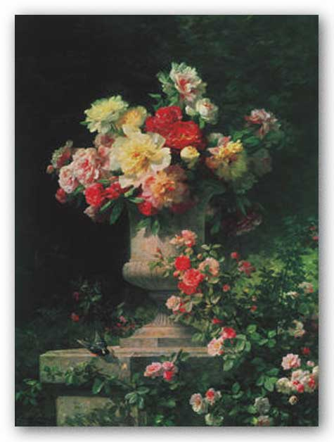 Peonies and Roses by Louis-Marie Lemaire