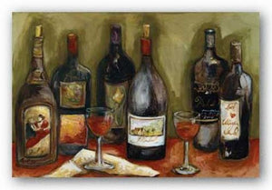 Wine Still Life With Olive Green Background by Nicole Etienne
