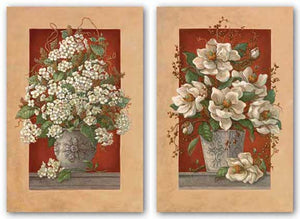 Magnolias En Rouge and Hydrangeas En Rouge Set by Janet Kruskamp