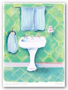 Sink With Blue Towels by Dona Turner