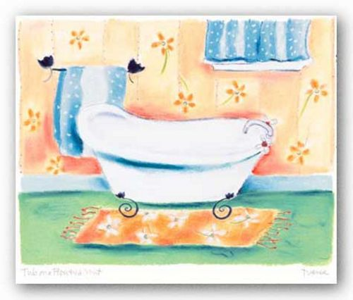 Tub On Flowered Mat by Dona Turner