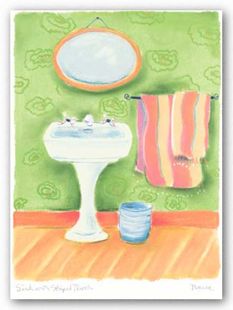 Sink With Striped Towels by Dona Turner