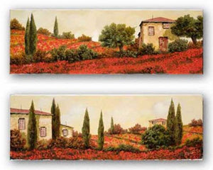 Tre Casa Tra l Papaveri and I Papaveri Sulle Colline Set by Guido Borelli