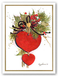Hearts 'N Holly II Ornament by Peggy Abrams