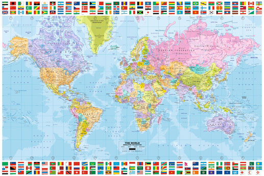 World Map Maxi Poster With Flags