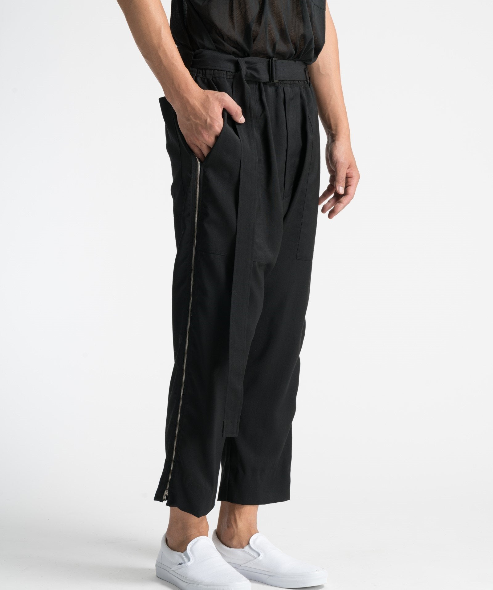 tech taffeta drop rise cropped pants