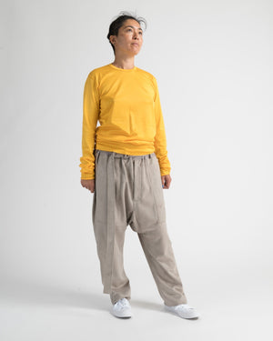 ultra-suede drop rise cropped pants