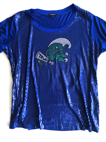 Ladies Pima Scoop Neck with Angry Wave Sequins