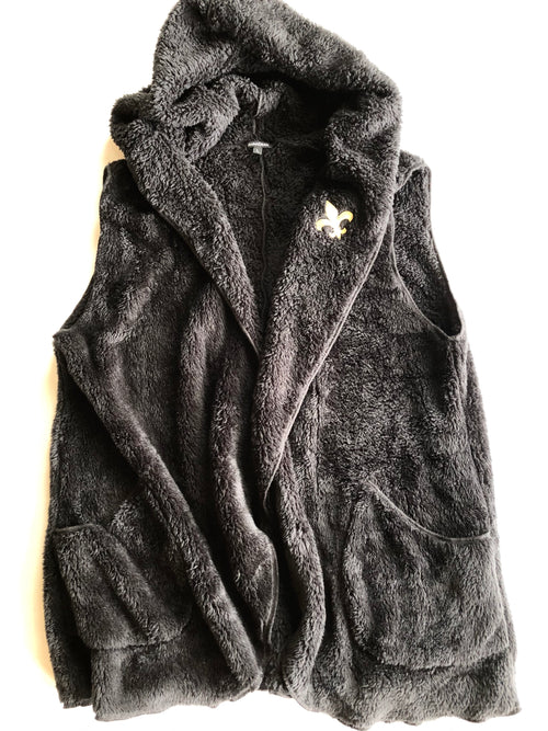 Black Sherpa Vest with Embroidered Gold FDL