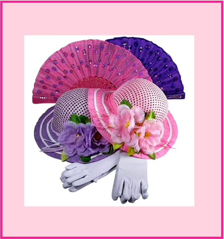 Girls Tea Party Dress Up Hat with Pink Boa Parasol and White Gloves