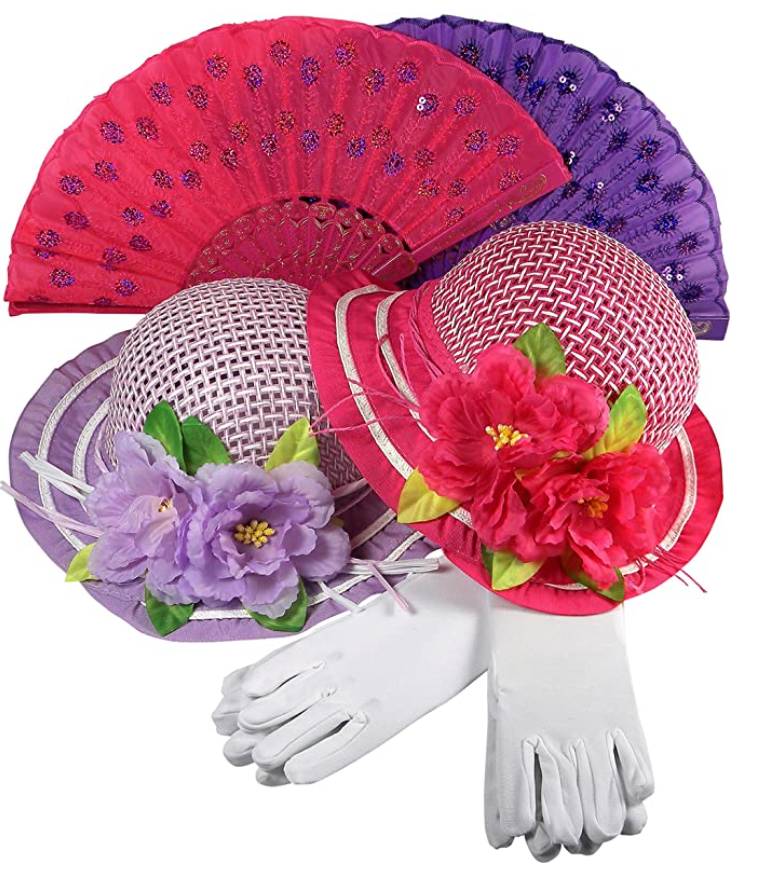 Girls Tea Party Dress Up Play Set For 2 with Sun Hats Gloves Hand Fans