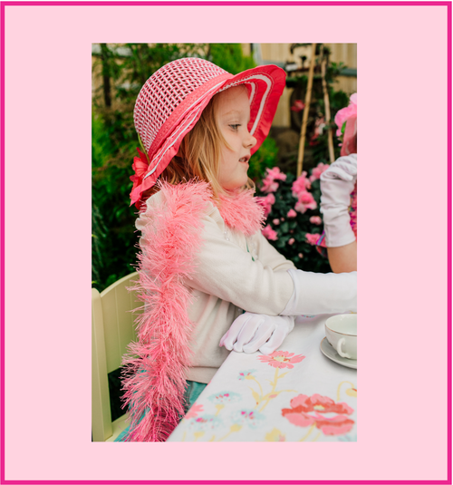 Girls Tea Party Dress Up Play Set with Fuchsia Sun Hat, Boa, Plastic Pearl Necklace, White Gloves