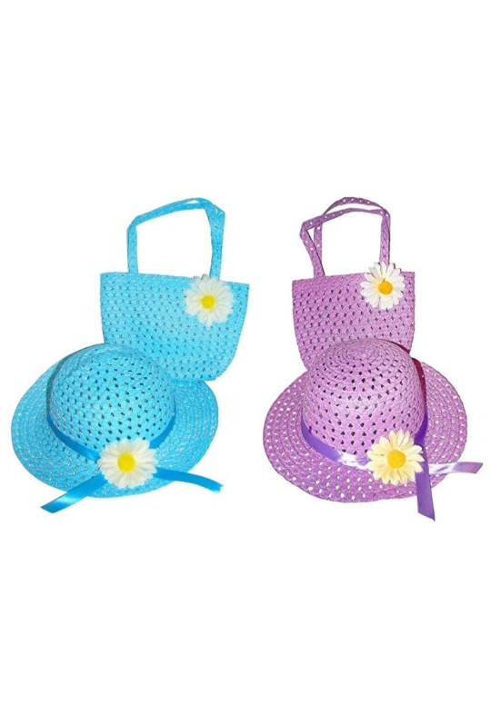 Girls Tea Party Dress Up Set Purple & Blue Hats Purses Boas Gloves Necklaces