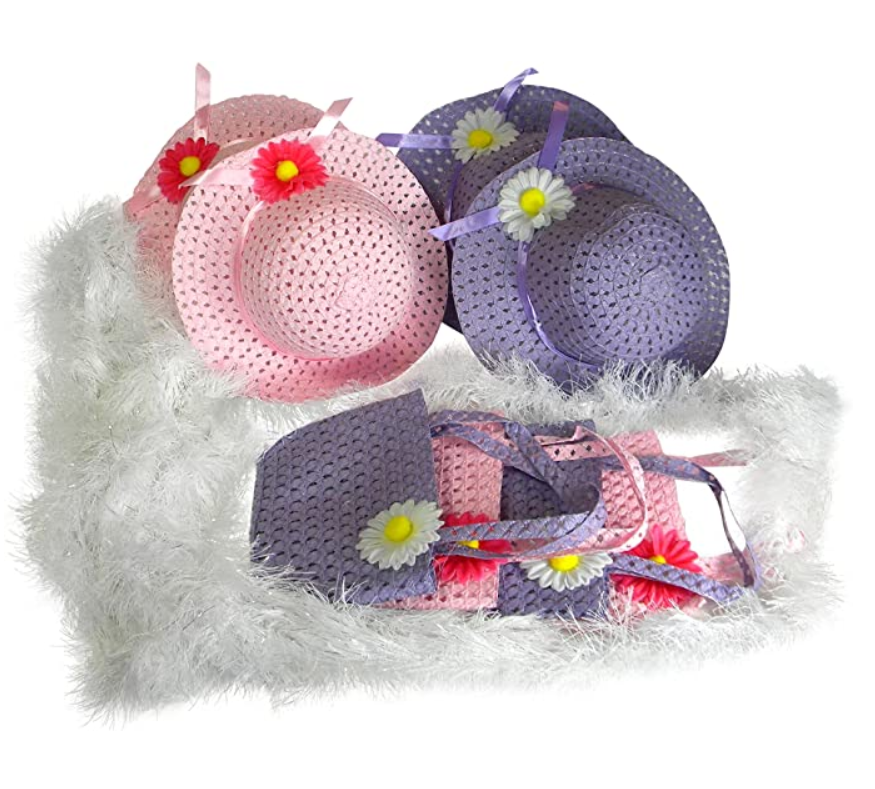 Girls Tea Party Hats Purses Boas Dress Up Play Set for 4 Sun Hats Costumes