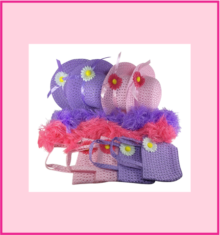 Girls Tea Party Dress Up Set Pink & Purple Hats Purses Boas Gloves Necklaces