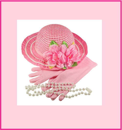 BRAND NEW SET!  Girls Tea Party Dress Up Play Set with Pink Sun Hat, Pink Long Gloves & Plastic Pearl Necklace