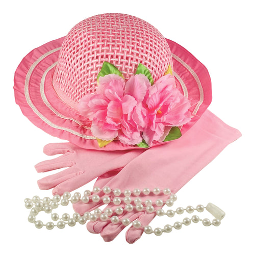 BRAND NEW ITEM!  Girls Tea Party Dress Up Play Set with Pink Sun Hat, Pink Long Gloves & Plastic Pearl Necklace