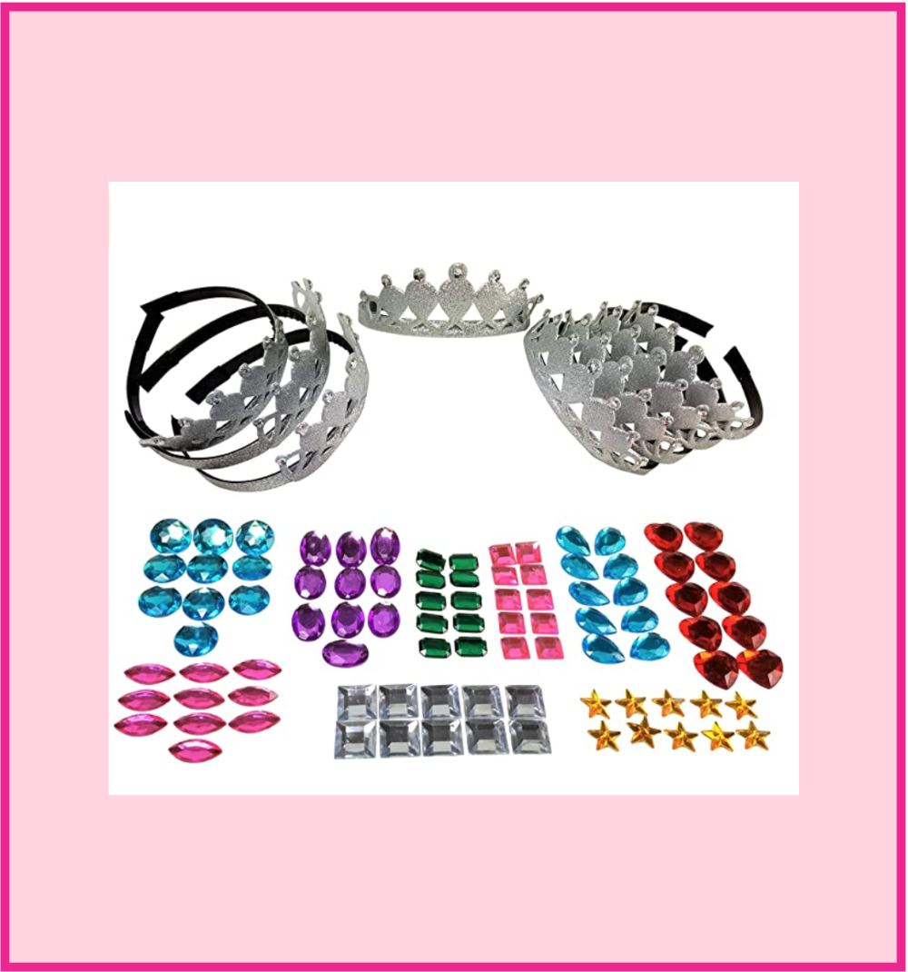 Tiaras Set of 8 with 90 Multi-Colored Gem Stickers Self Adhesive Birthday Party DIY Little Girls