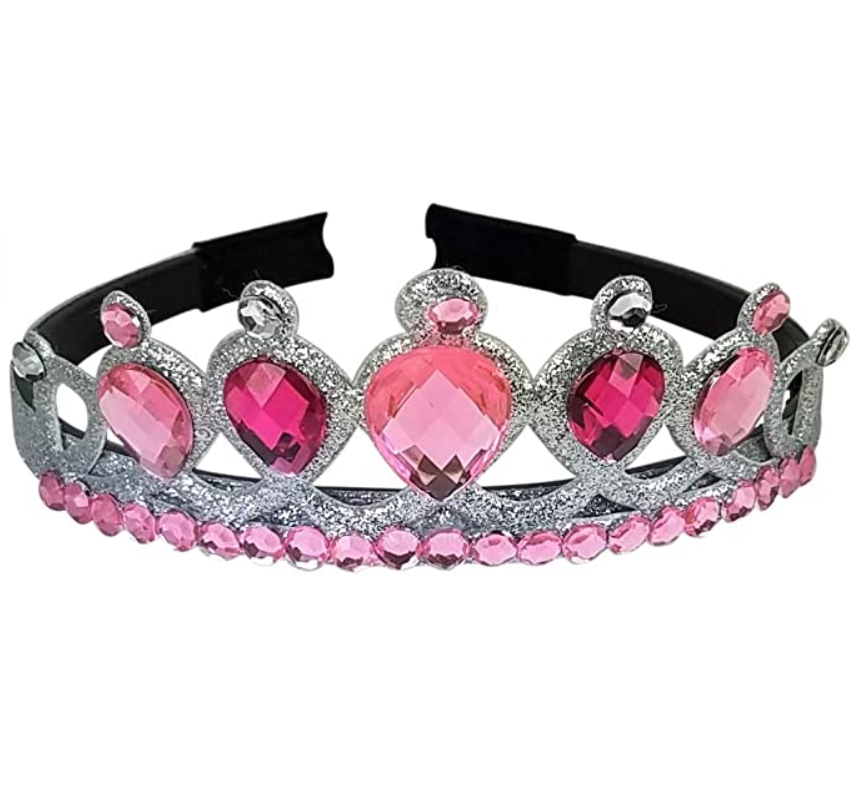 Girl's Queen/Princess Pink Gem Tiara Crown With Gems On Border Headband - DISCONTINUED