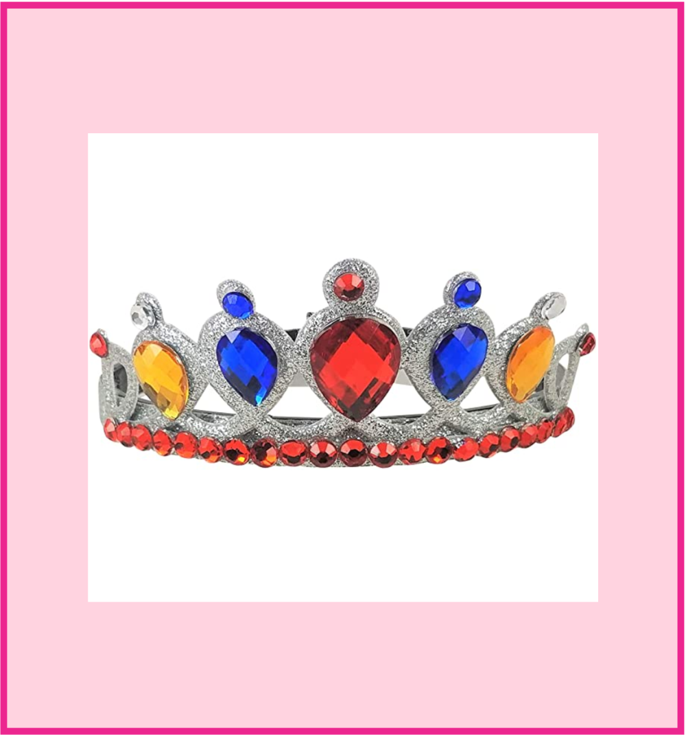 Girl's Queen/Princess Red, Blue And Gold Gem Tiara Crown Headband - DISCONTINUED!