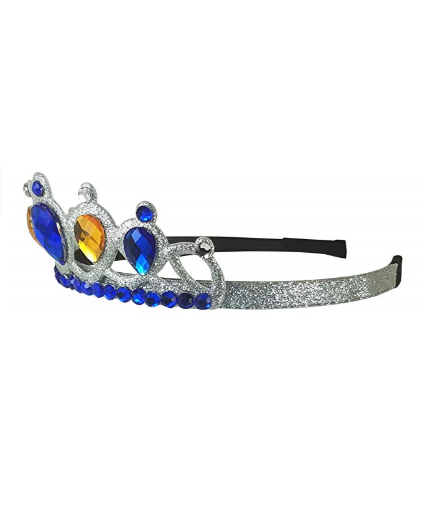 Girl's Queen/Princess Blue And Gold Gem Tiara Crown Headband -- DISCONTINUED