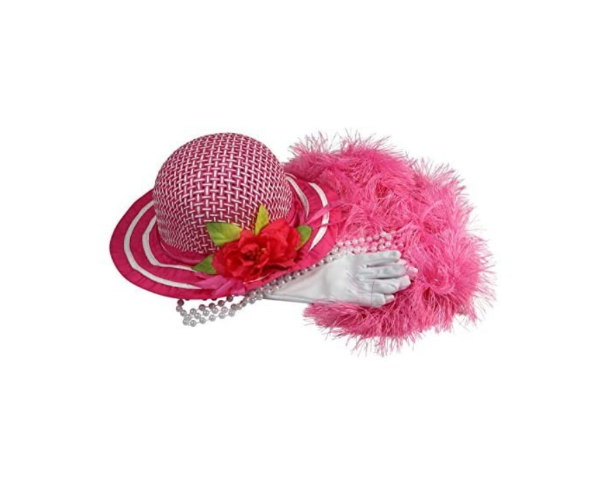 Girls Tea Party Dress Up Play Set with Sun Hat, Boa, Plastic Pearl Necklace, White Gloves