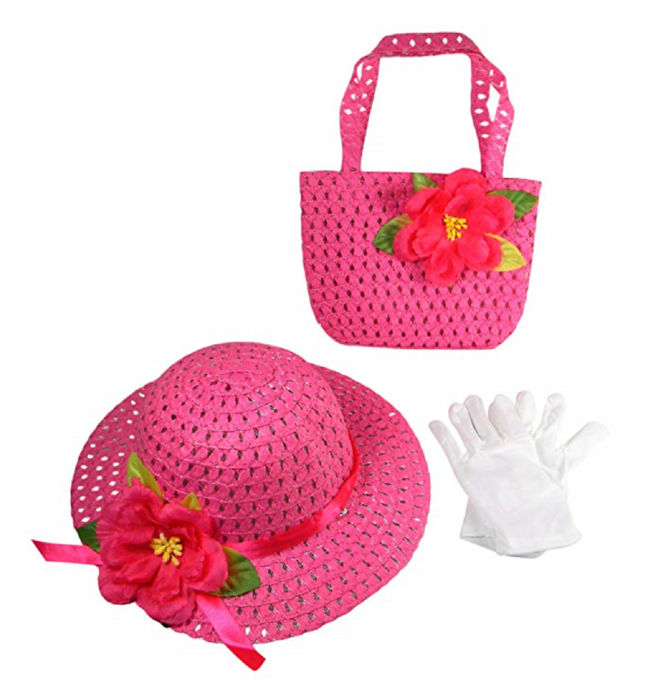 Girls Tea Party Dress Up Play Set with Sun Hat, Purse, and White Gloves