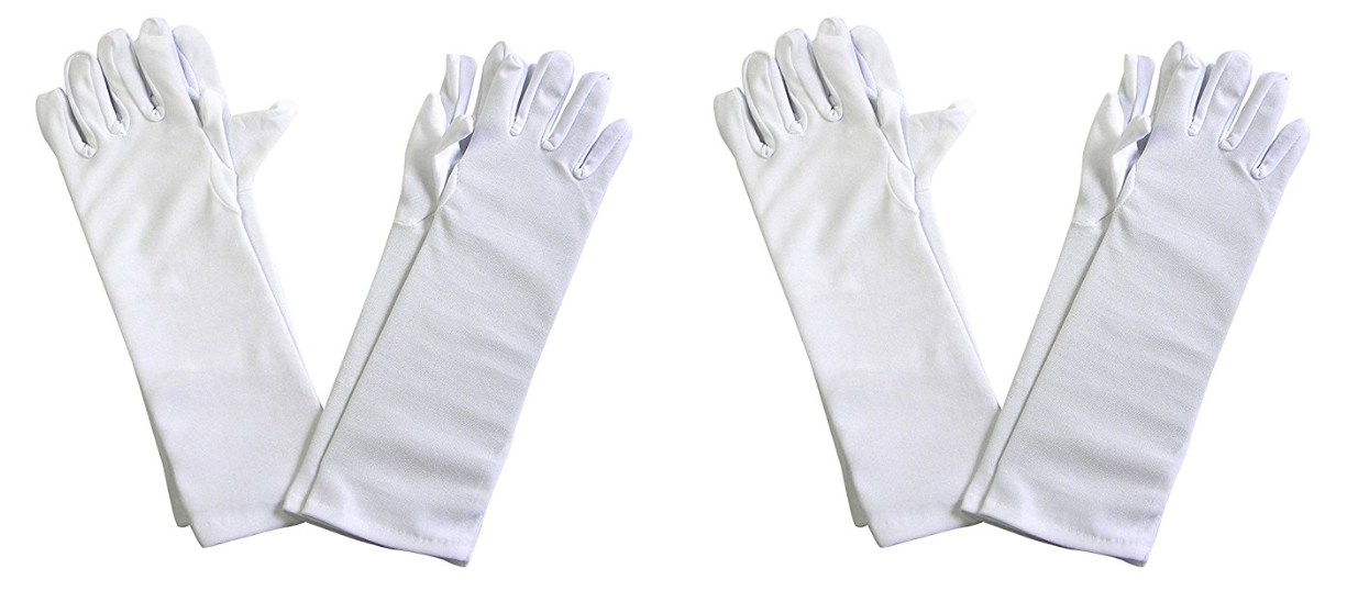 Set of 4 Long Dress Polyester Gloves for Tea Party Dress Up