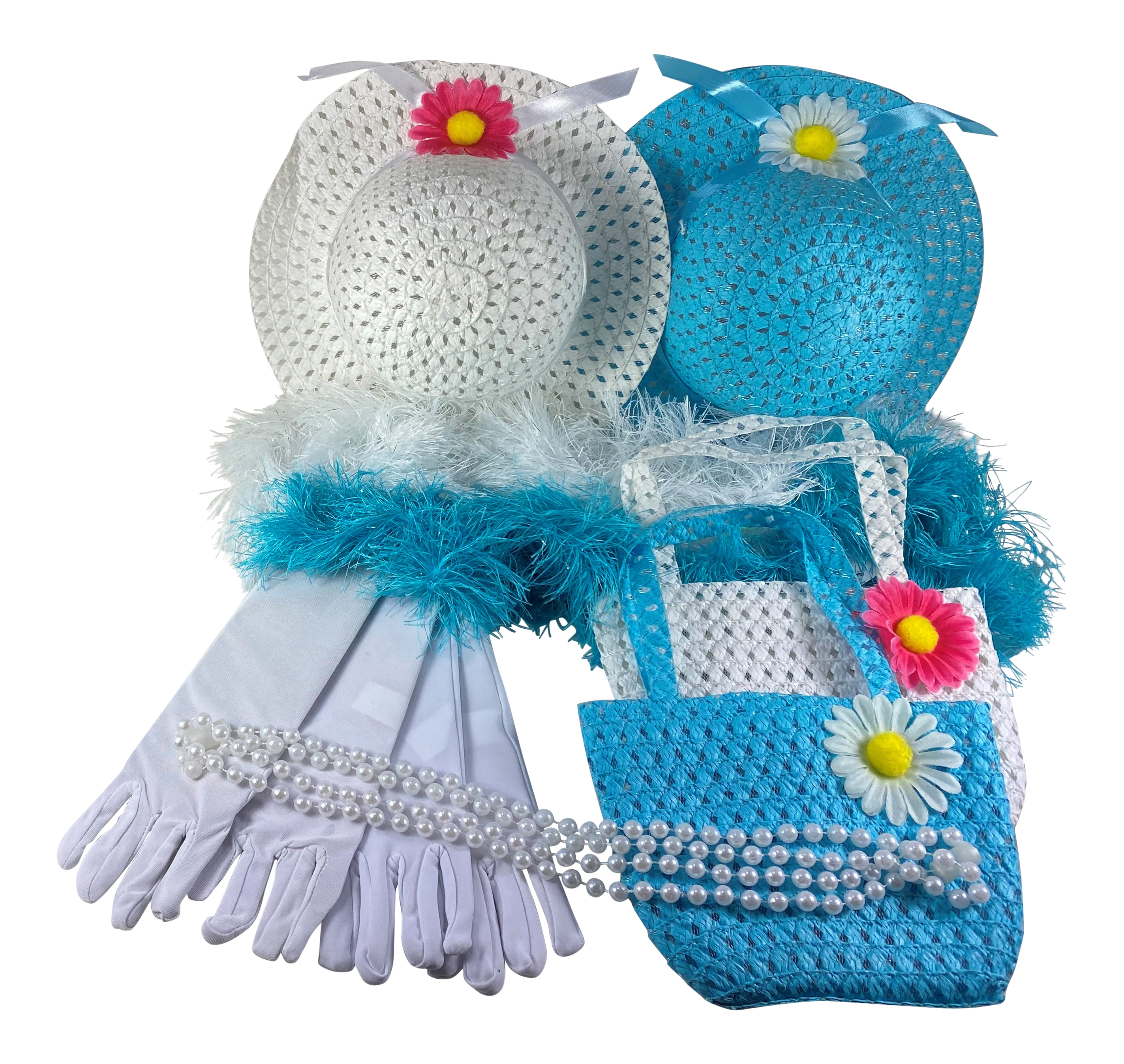Girls Tea Party Dress Up Set Blue & White Hats Purses Boas Gloves Necklaces