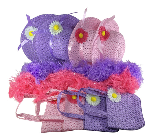 BRAND NEW SET!  Girls Tea Party Hats Purses Boas Dress Up Play Set for 4, Pink & Purple