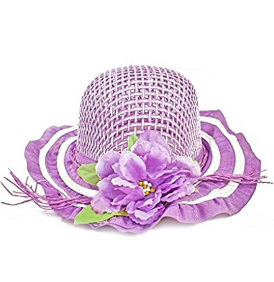 Girls Tea Party Dress Up Play Set with Purple Sun Hat, Boa, Plastic Pearl Necklace, White Gloves