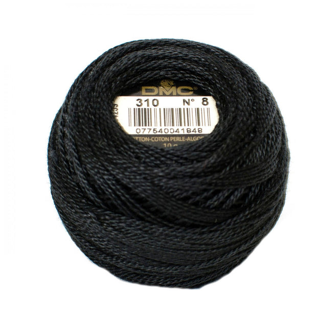 Pearl Cotton Size 8 Thread 310 Black
