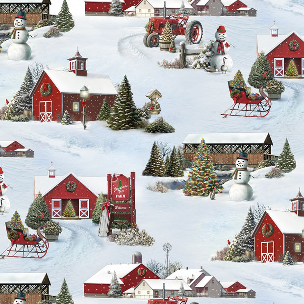 Elizabeth's Studio Tis The Season Snowy Scene Quilt Fabric