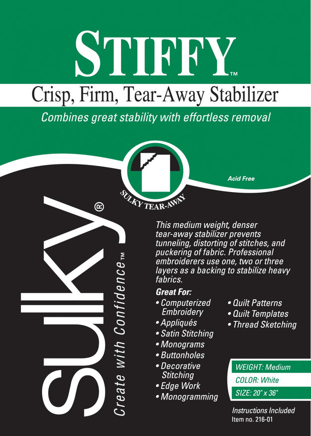 Stiffy Firm Tear-Away Stabilizer White